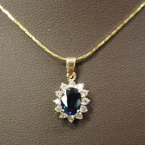 14KY 1.8 Carat Genuine Sapphire & Dia. Pendant